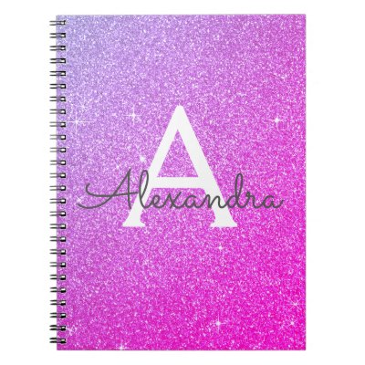 Pink Purple Glitter Sparkle Monogram Notebook