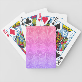 Pink Purple Gradient Venetian Medley Damask Bicycle Playing Cards