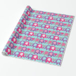 Pink, Purple, Gray Elephant Love Wrapping Paper