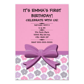 Pink Purple Gray Floral Child's First Birthday Card