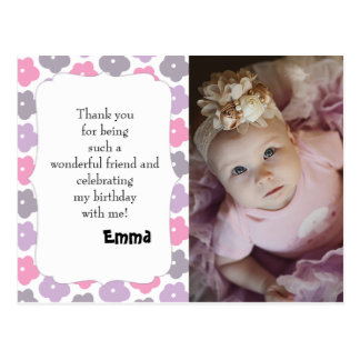 Pink Purple Gray Flowers Birthday Thank You Postcard
