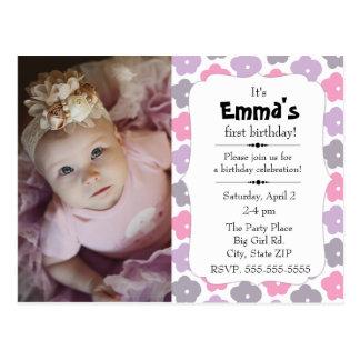 Pink Purple Gray Flowers Little Girl Birthday Postcard