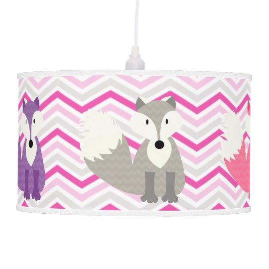 Pink, Purple, Gray Foxes on Chevron Pendant Lamp
