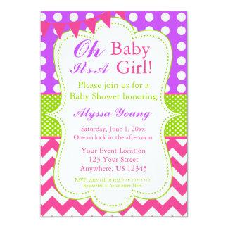Pink Purple Green Baby Girl Shower Invite
