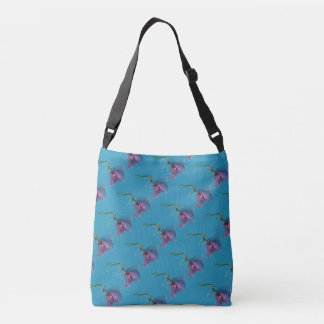 Pink purple green flower print on blue crossbody bag