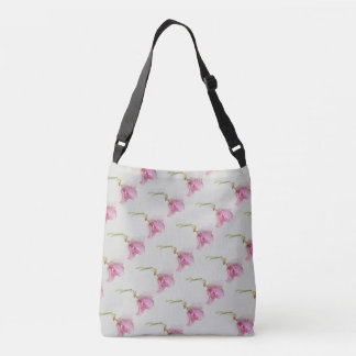 Pink purple green flower print on grey crossbody bag