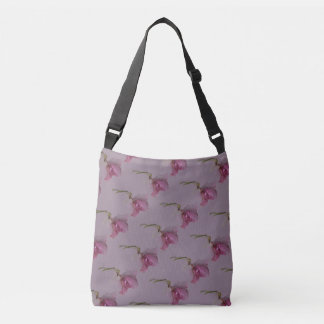 Pink purple green flower print on purple mauve crossbody bag