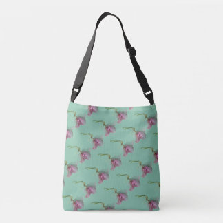 Pink purple green flower print on turquoise crossbody bag