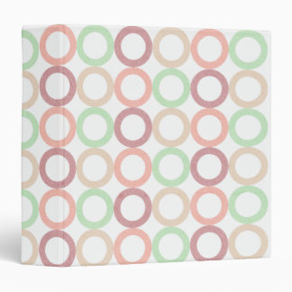 Pink Purple Green Pastel Circle Outlines Pattern 3 Ring Binder
