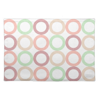 Pink Purple Green Pastel Circle Outlines Pattern Cloth Placemat