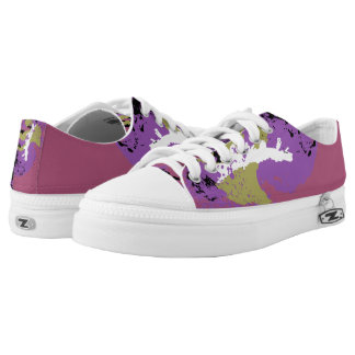 Pink Purple Green White Black Color Run Printed Shoes