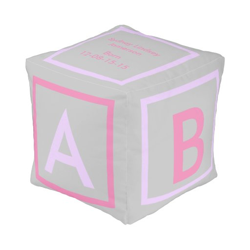 pink purple grey ALPHABET blocks baby girl Cube Pouf | Zazzle