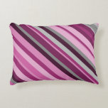 [ Thumbnail: Pink, Purple, Grey Striped Pattern Accent Pillow ]