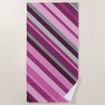 [ Thumbnail: Pink/Purple/Grey Stripes Beach Towel ]