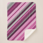 [ Thumbnail: Pink/Purple/Grey Stripes Blanket ]