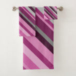 [ Thumbnail: Pink/Purple/Grey Stripes Towel Set ]