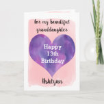 """Pink Purple Happy 13th Birthday Granddaughter Card<br><div class=""""desc"""">A pretty pink and purple 13th birthday granddaughter card that features a watercolor purple heart against a pretty pink watercolor, which you can personalize underneath the purple heart with her name. The inside of this 13th birthday card reads a sweet sentiment for your daughter, which an be easily personalized. The...</div>"""
