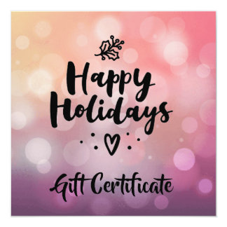 Pink Purple Happy Holidays Gift Certificate Card