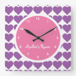 Pink & Purple Heart Print Girl's Bedroom Square Wall Clock