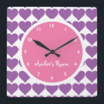 """Pink &amp; Purple Heart Print Girl&#39;s Bedroom Square Wall Clock<br><div class=""""desc"""">Pink &amp; Purple Heart Print Girl&#39;s Bedroom wall clock personalized with their name.</div>"""