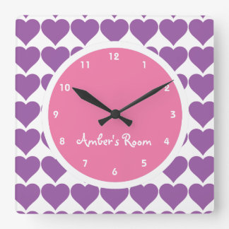 Pink & Purple Heart Print Girl's Bedroom Square Wall Clock