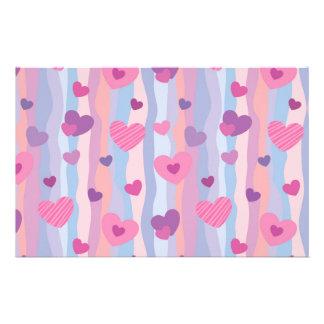 Pink & Purple Hearts Pattern Stationery