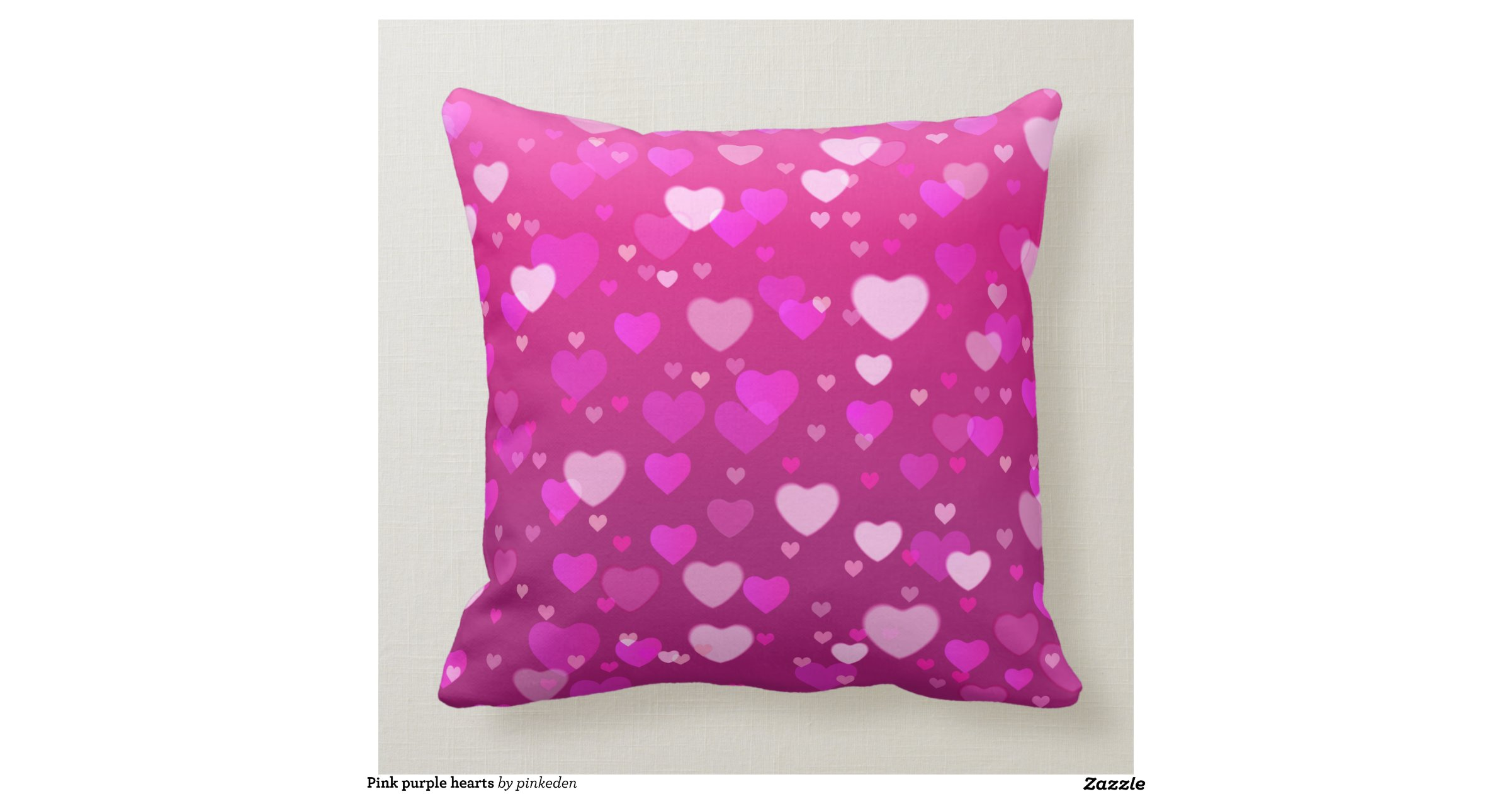 Pink Purple Decorative Pillows : Pink purple hearts throw pillows Zazzle