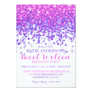 Pink Purple Hollywood Glitter Sweet Sixteen Party Card