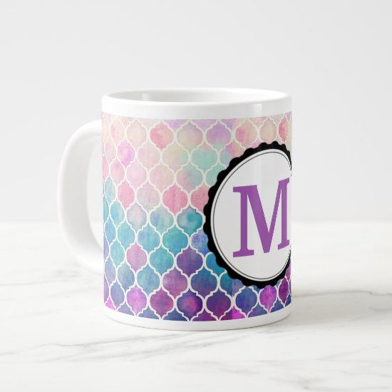 Pink & Purple Honey Comb Monogrammed Large Coffee Mug