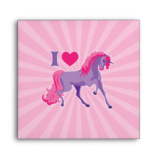 Pink & Purple I Heart Love Unicorns Envelope