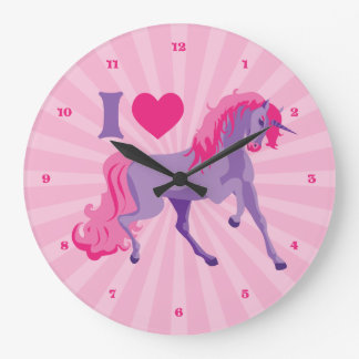 Pink & Purple I Heart Love Unicorns Large Clock