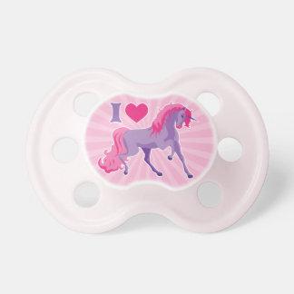 Pink & Purple I Heart Love Unicorns Pacifier