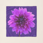 "Pink Purple Indigo Dahlia Square Chiffon Scarf<br><div class=""desc"">Pink Purple Dahlia Square Chiffon Scarf on Persian Indigo. For the three square options, not for the long or longer options. Optional monogram or name or erase. Background - Persian Indigo #3D1985 Monogram - Malibu Blue #89dcff Dahlia - Blush Pink #ff70ff, Electric Violet #b21fe9, Blackberry #4d0332, Pompadour #6d0061, Cardinal Pink,...</div>"