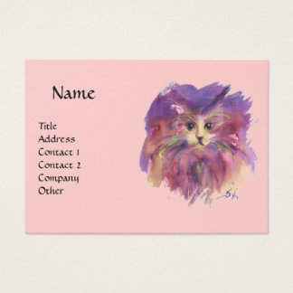 PINK PURPLE KITTEN,KITTY CAT PORTRAIT BUSINESS CARD