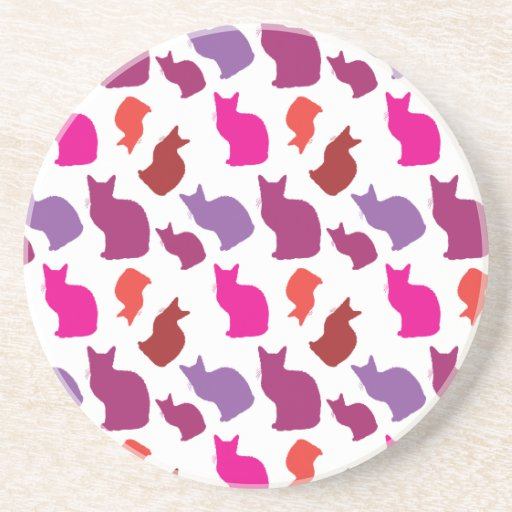 Pink Purple Kitty Cat Silhouettes Pattern Gifts Drink Coasters