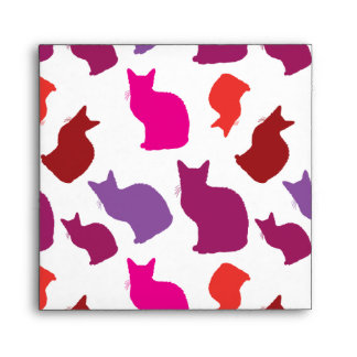 Pink Purple Kitty Cat Silhouettes Pattern Gifts Envelopes