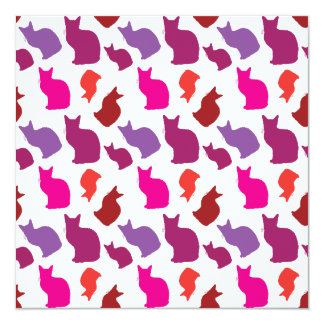 Pink Purple Kitty Cat Silhouettes Pattern Gifts 5.25x5.25 Square Paper Invitation Card