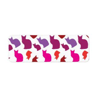 Pink Purple Kitty Cat Silhouettes Pattern Gifts Return Address Label
