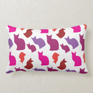 Pink Purple Kitty Cat Silhouettes Pattern Gifts Pillow