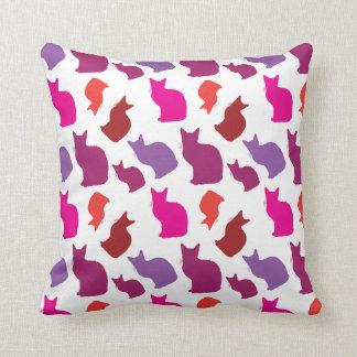 Pink Purple Kitty Cat Silhouettes Pattern Pillow