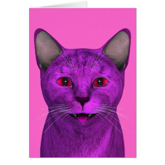 Pink Purple Kitty Face Card
