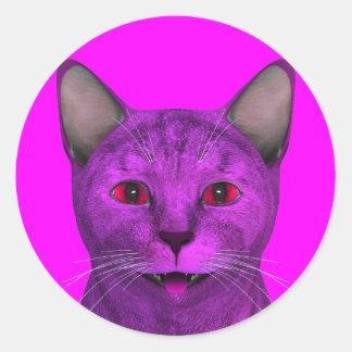 Pink Purple Kitty Face Classic Round Sticker