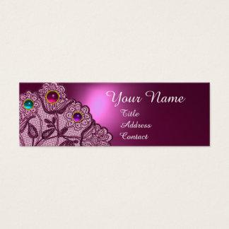 PINK PURPLE LACE FLOWERS ,COLORFUL GEMS MONOGRAM MINI BUSINESS CARD