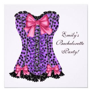 Pink & Purple Leopard Corset Purple Bachelorette P 5.25x5.25 Square Paper Invitation Card