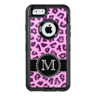 Pink, Purple, Leopard Skin Monogrammed Defender OtterBox iPhone 6/6s Case