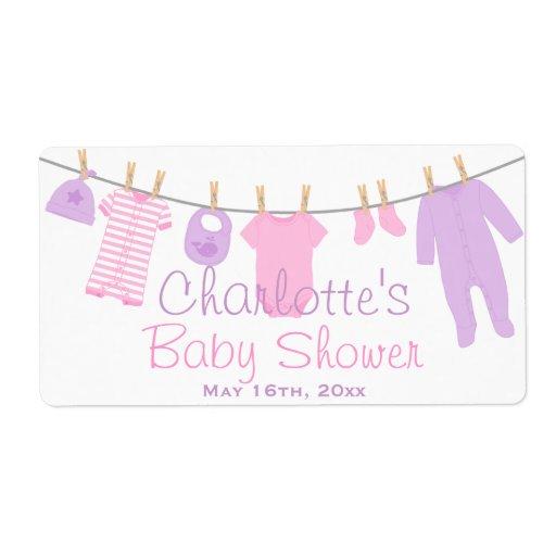 Pink & Purple Lil Clothes Baby Shower Water Bottle Label   Zazzle