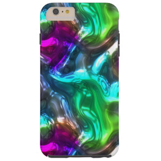 Pink Purple Lime Green Faux Glass 3D Waves Pattern Tough iPhone 6 Plus Case