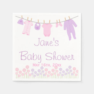 Pink & Purple Little Clothes Baby Shower Napkins
