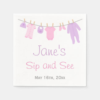 Pink & Purple Little Clothes Baby Sip and See Paper Napkin