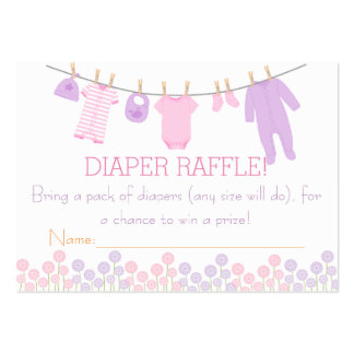 Pink & Purple Little Clothes Diaper Raffle Tickets Large Business Cards (Pack Of 100)
